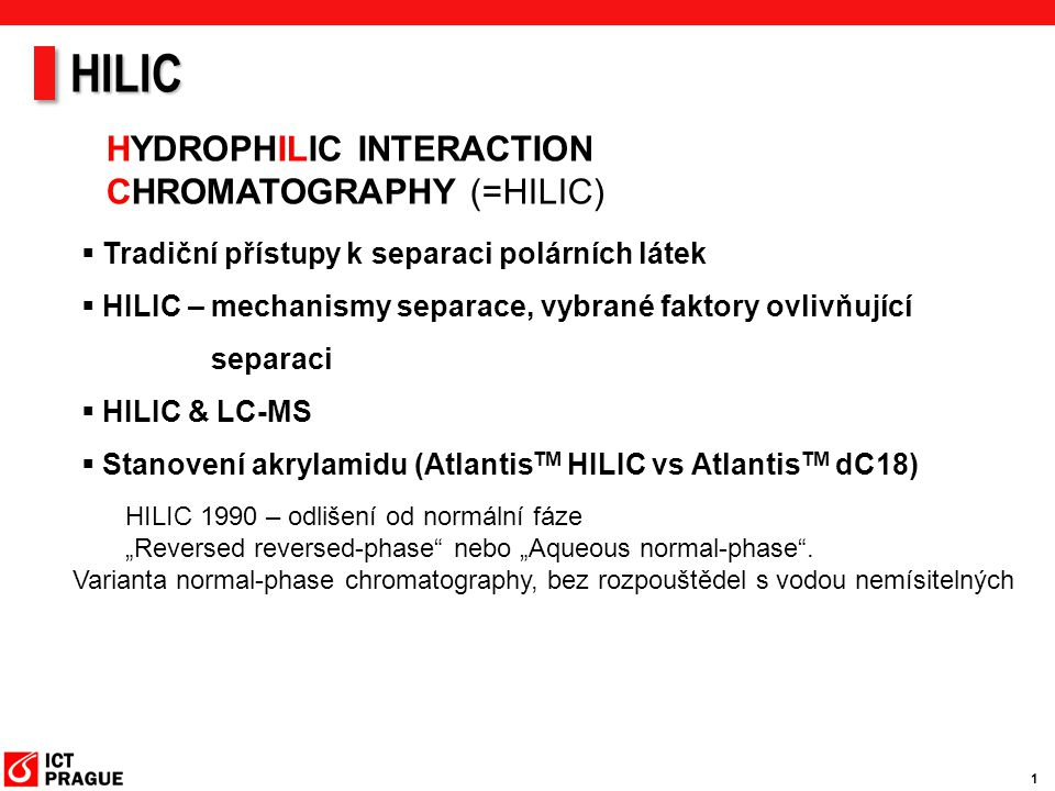 HILIC HYDROPHILIC INTERACTION CHROMATOGRAPHY (=HILIC)
