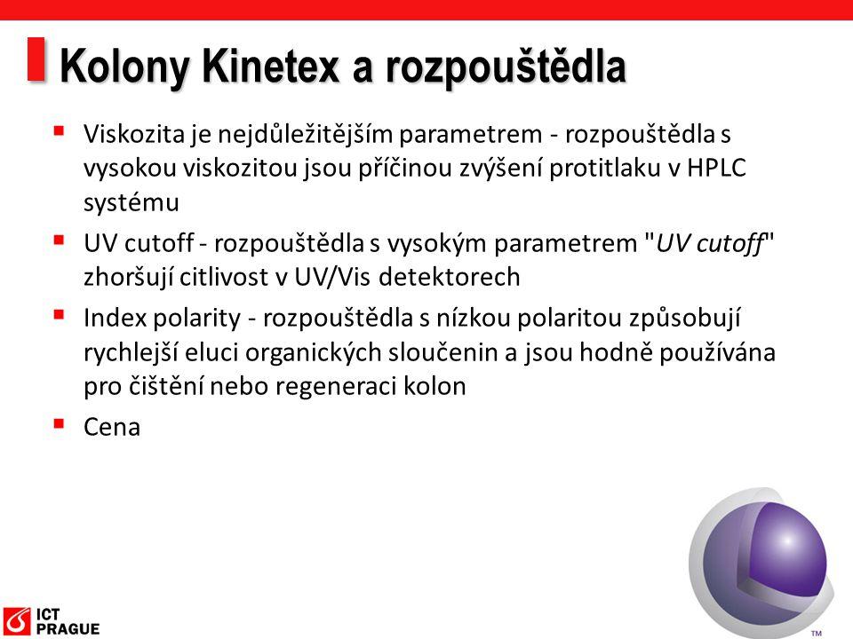 Kolony Kinetex a rozpouštědla