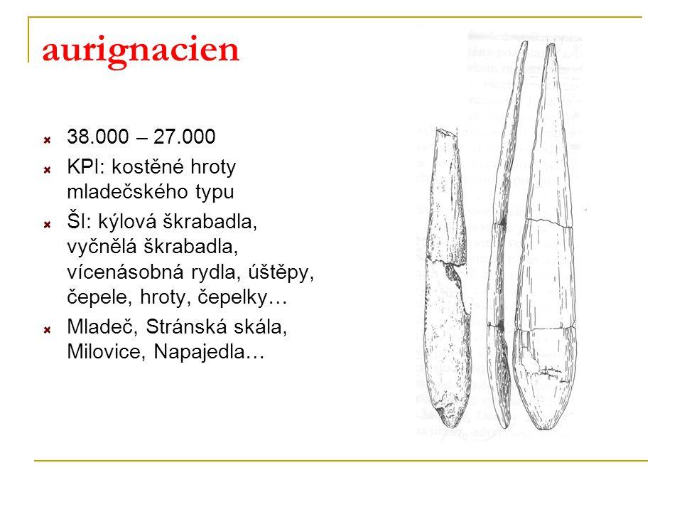 aurignacien 38.000 – 27.000 KPI: kostěné hroty mladečského typu