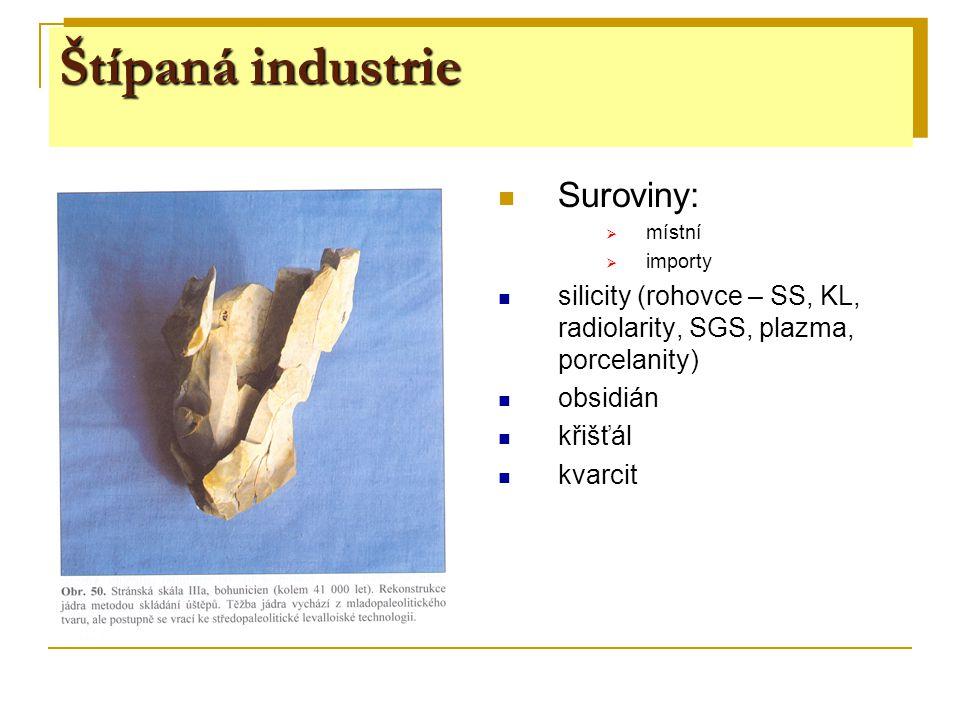 Štípaná industrie Suroviny: