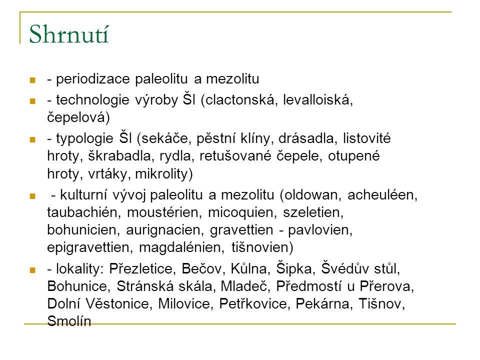 Shrnutí - periodizace paleolitu a mezolitu