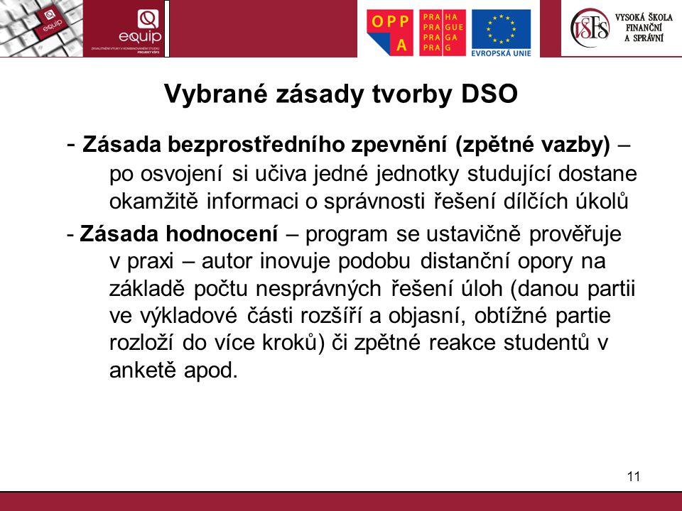 Vybrané zásady tvorby DSO