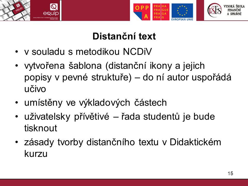Distanční text v souladu s metodikou NCDiV. vytvořena šablona (distanční ikony a jejich popisy v pevné struktuře) – do ní autor uspořádá učivo.