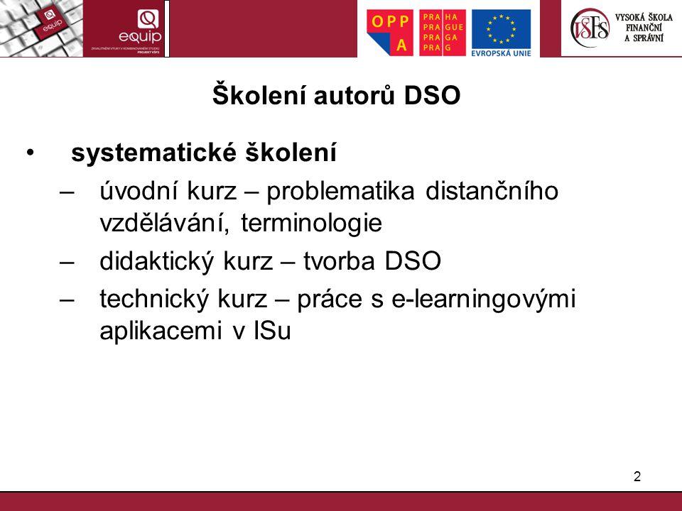 Školení autorů DSO systematické školení. úvodní kurz – problematika distančního vzdělávání, terminologie.