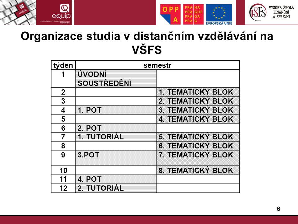 Organizace studia v distančním vzdělávání na VŠFS