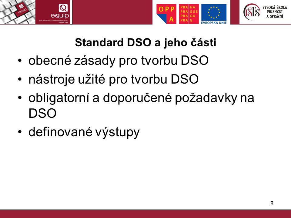 Standard DSO a jeho části