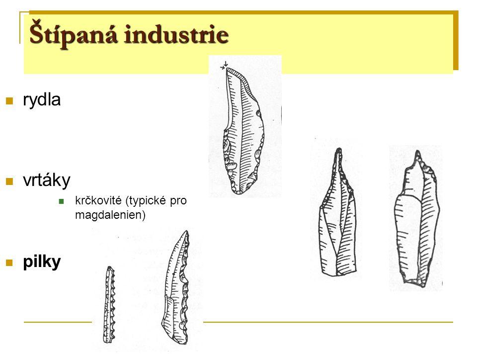 Štípaná industrie rydla vrtáky pilky