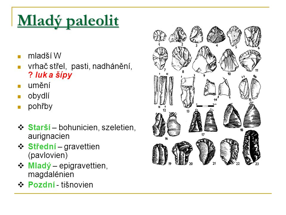 Mladý paleolit mladší W vrhač střel, pasti, nadhánění, luk a šípy