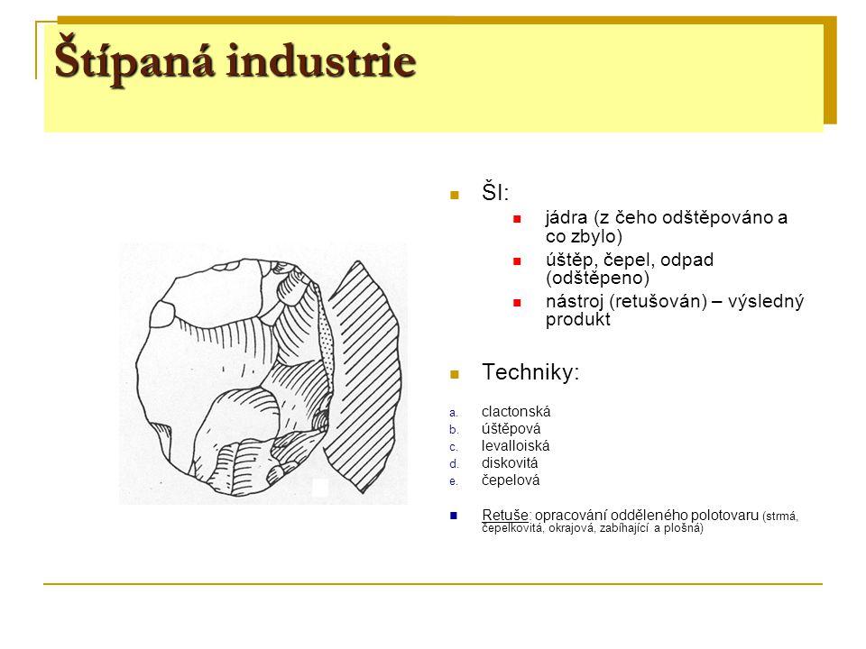 Štípaná industrie Štípaná industrie Štípaná industrie ŠI: Techniky: