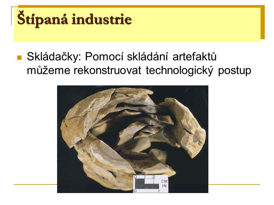Štípaná industrie Skládačky: Pomocí skládání artefaktů můžeme rekonstruovat technologický postup