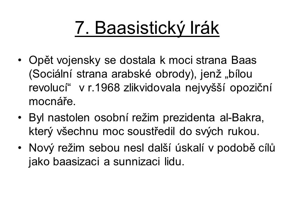 7. Baasistický Irák