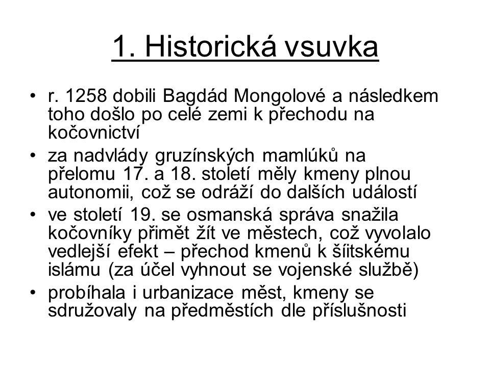1. Historická vsuvka r. 1258 dobili Bagdád Mongolové a následkem toho došlo po celé zemi k přechodu na kočovnictví.