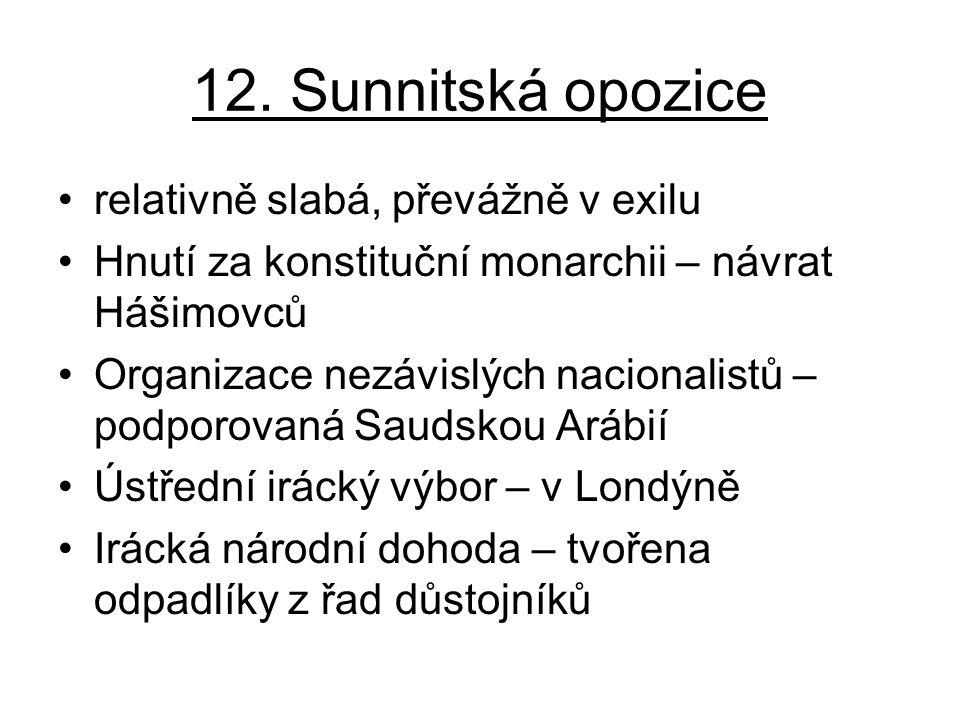 12. Sunnitská opozice relativně slabá, převážně v exilu