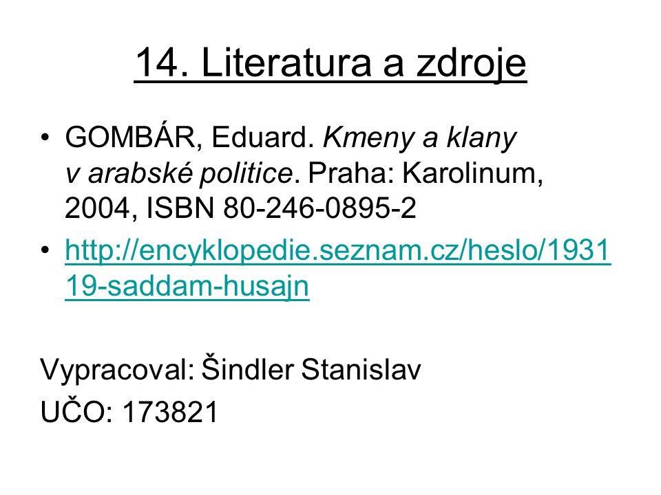 14. Literatura a zdroje GOMBÁR, Eduard. Kmeny a klany v arabské politice. Praha: Karolinum, 2004, ISBN 80-246-0895-2.