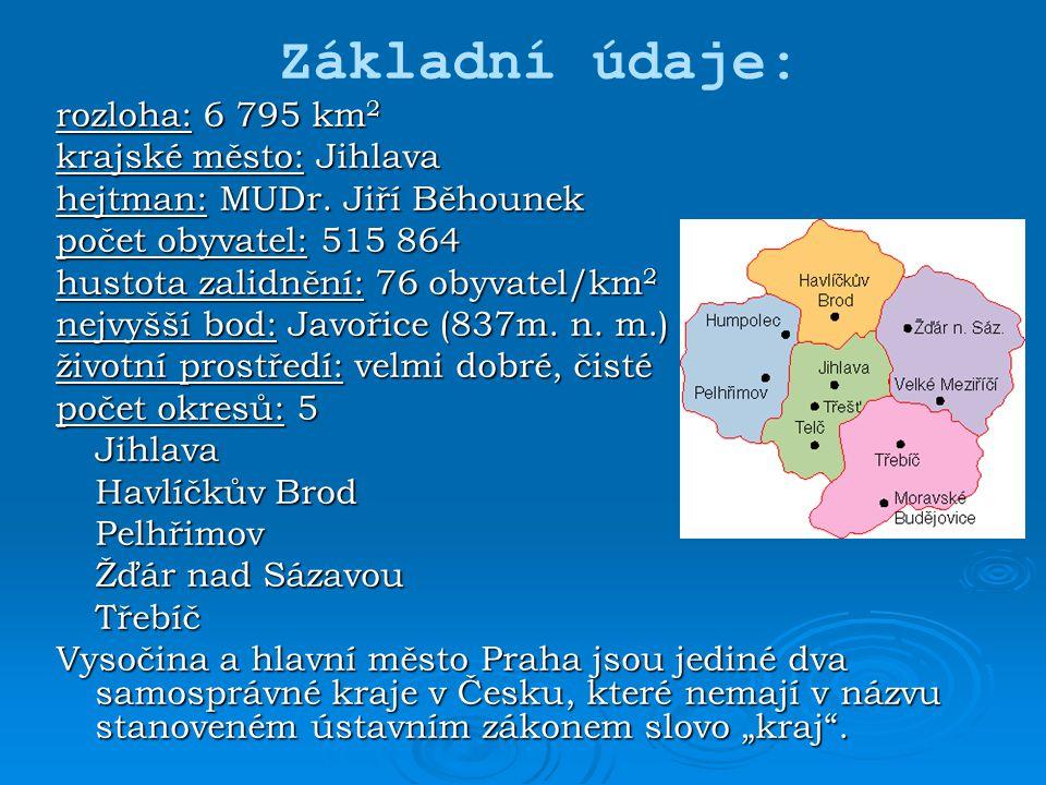 Základní údaje: rozloha: 6 795 km2 krajské město: Jihlava
