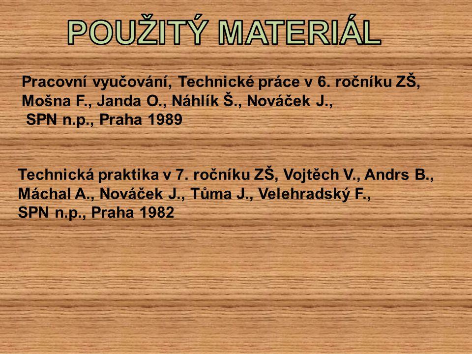 POUŽITÝ MATERIÁL Pracovní vyučování, Technické práce v 6. ročníku ZŠ, Mošna F., Janda O., Náhlík Š., Nováček J.,