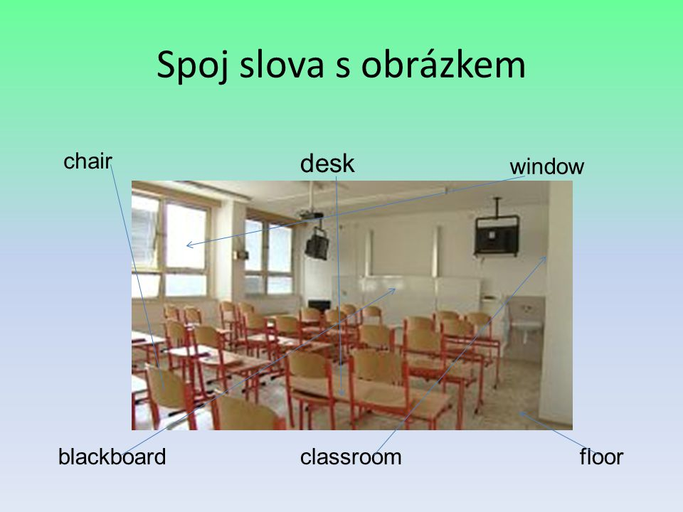 Spoj slova s obrázkem chair desk window blackboard classroom floor