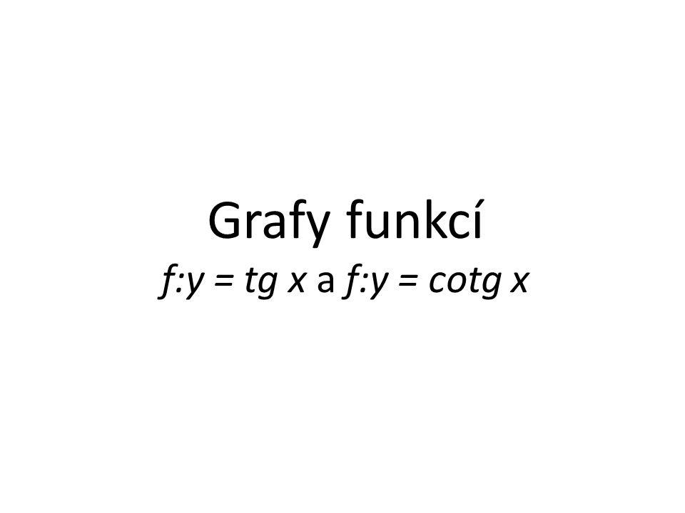 Grafy funkcí f:y = tg x a f:y = cotg x