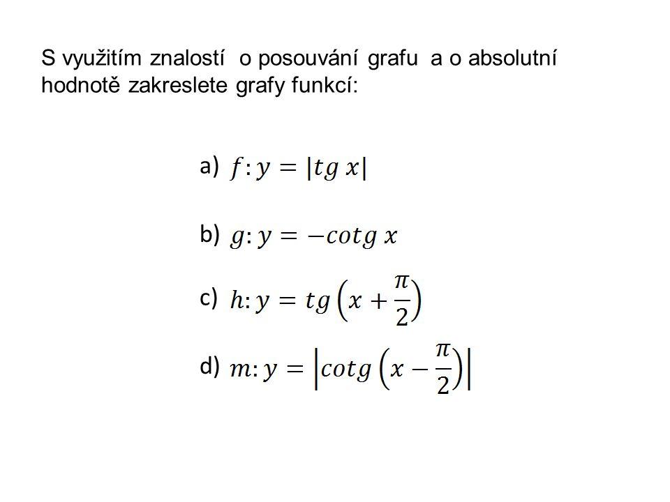 S využitím znalostí o posouvání grafu a o absolutní hodnotě zakreslete grafy funkcí:
