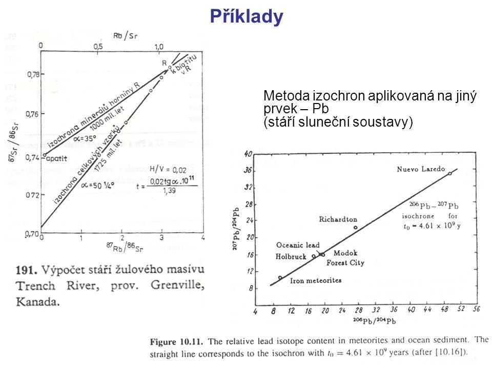 Příklady Metoda izochron aplikovaná na jiný prvek – Pb (stáří sluneční soustavy)