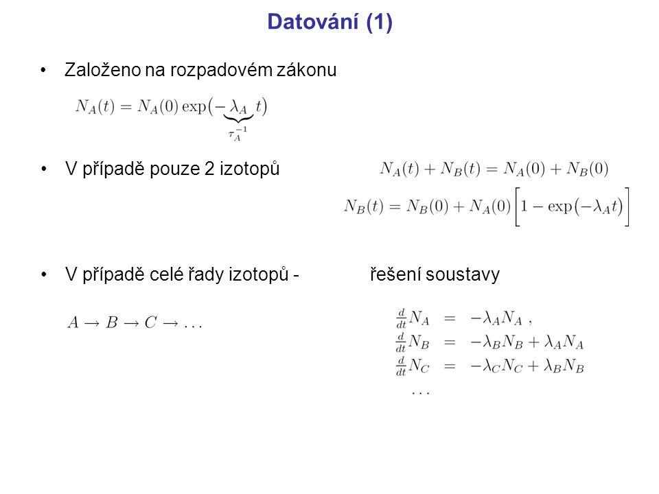 Datování (1) Založeno na rozpadovém zákonu V případě pouze 2 izotopů