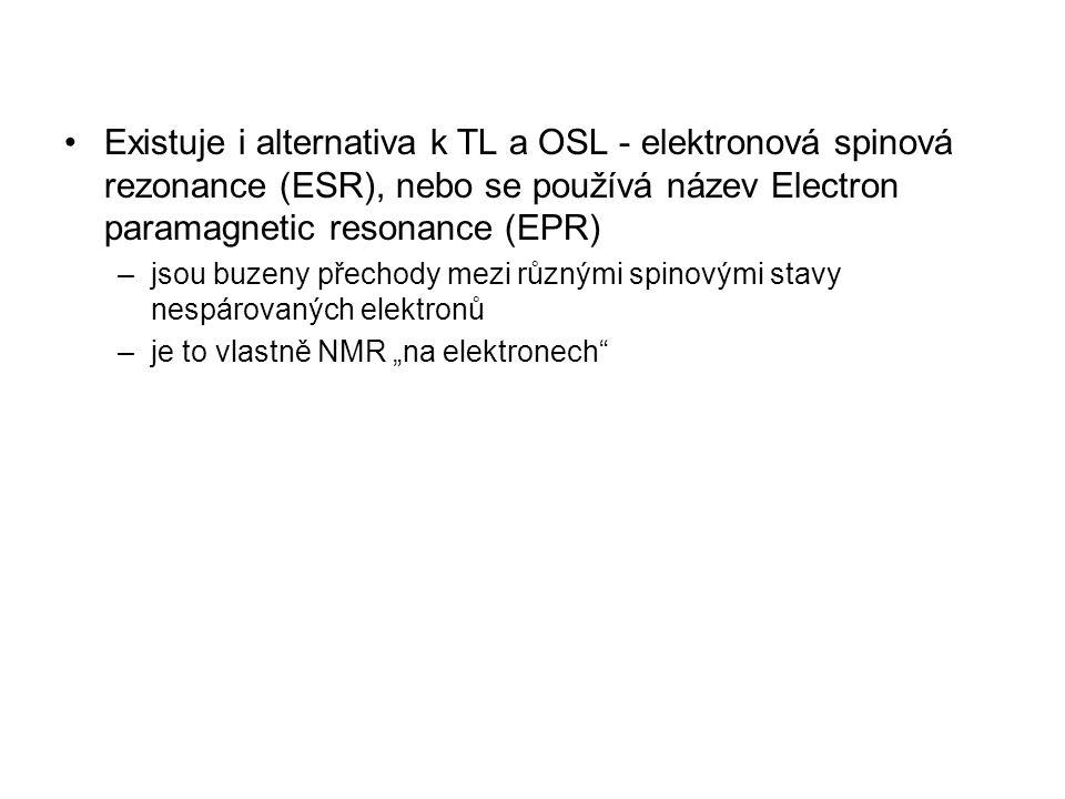 Existuje i alternativa k TL a OSL - elektronová spinová rezonance (ESR), nebo se používá název Electron paramagnetic resonance (EPR)