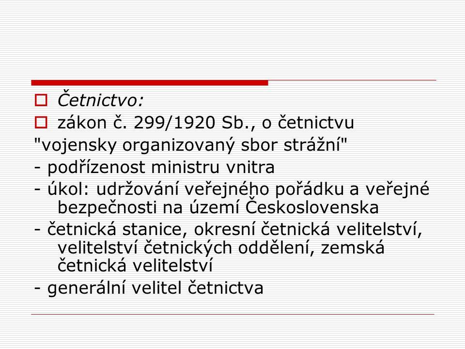 Četnictvo: zákon č. 299/1920 Sb., o četnictvu. vojensky organizovaný sbor strážní - podřízenost ministru vnitra.