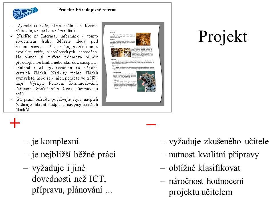 + – Projekt je komplexní je nejbližší běžné práci