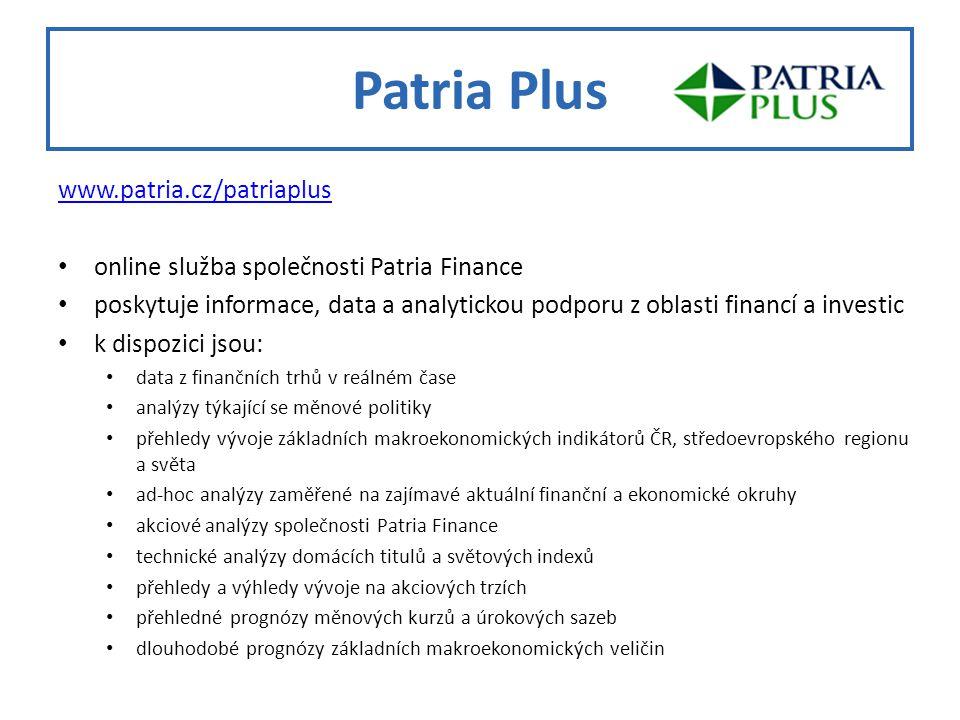 Patria Plus www.patria.cz/patriaplus