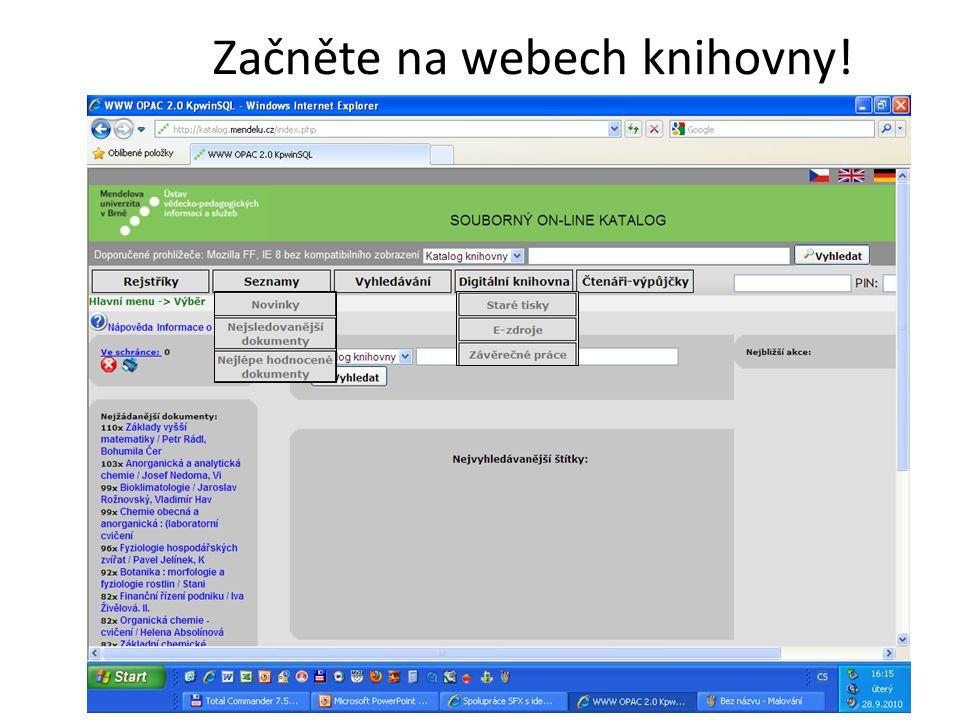 Začněte na webech knihovny!