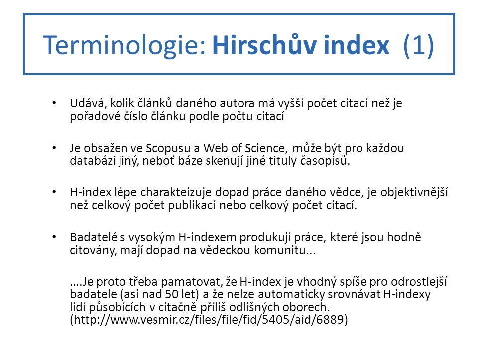 Terminologie: Hirschův index (1)