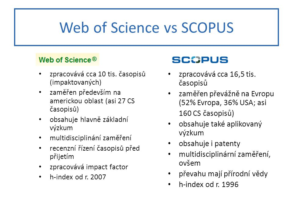 Web of Science vs SCOPUS