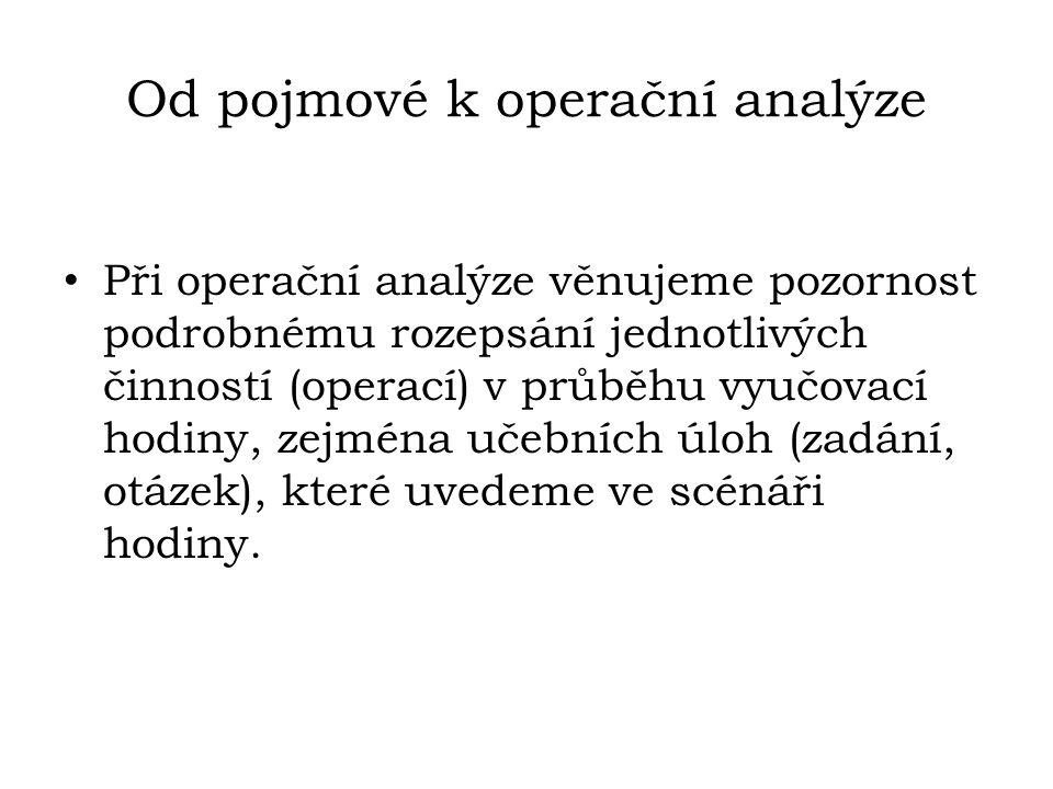 Od pojmové k operační analýze