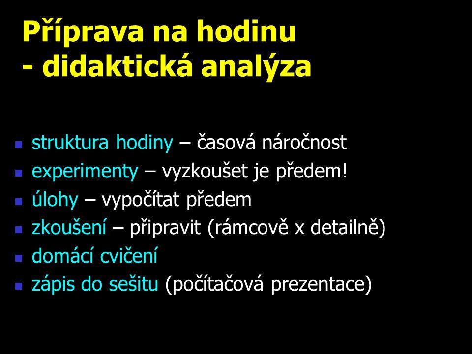 Příprava na hodinu - didaktická analýza