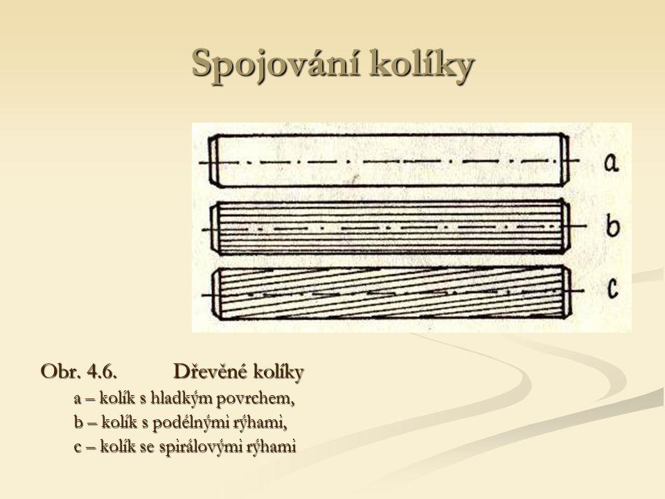 Spojování kolíky Obr. 4.6. Dřevěné kolíky