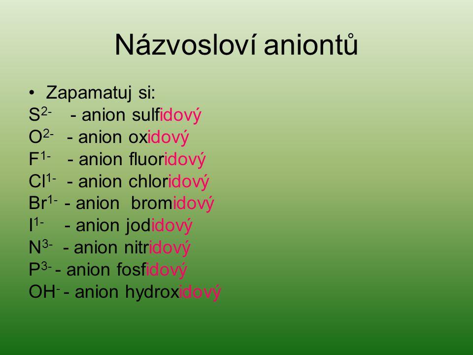 Názvosloví aniontů Zapamatuj si: S2- - anion sulfidový
