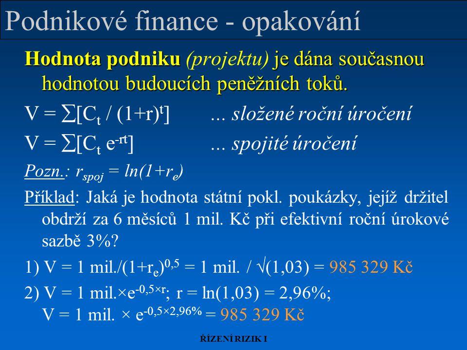 Podnikové finance - opakování