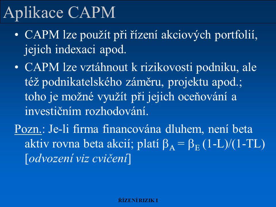 Aplikace CAPM CAPM lze použít při řízení akciových portfolií, jejich indexaci apod.