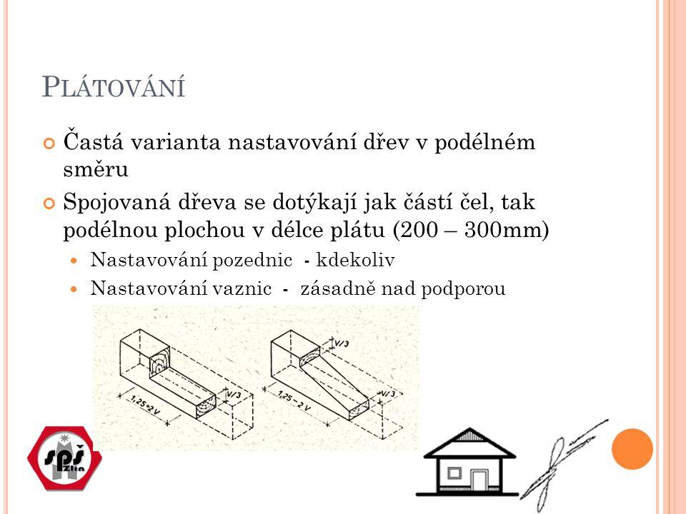 Plátování Častá varianta nastavování dřev v podélném směru
