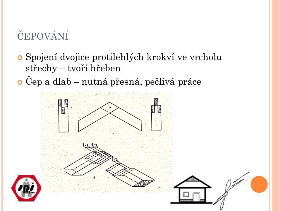 čepování Spojení dvojice protilehlých krokví ve vrcholu střechy – tvoří hřeben.