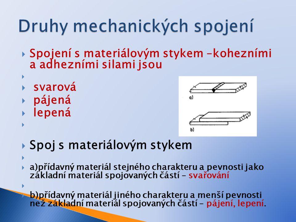 Druhy mechanických spojení