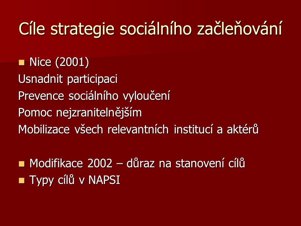 Cíle strategie sociálního začleňování