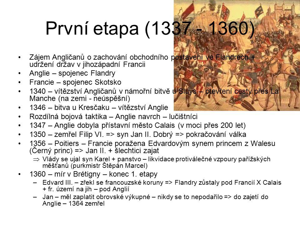 První etapa (1337 - 1360) Zájem Angličanů o zachování obchodního postavení ve Flandrech + udržení držav v jihozápadní Francii.