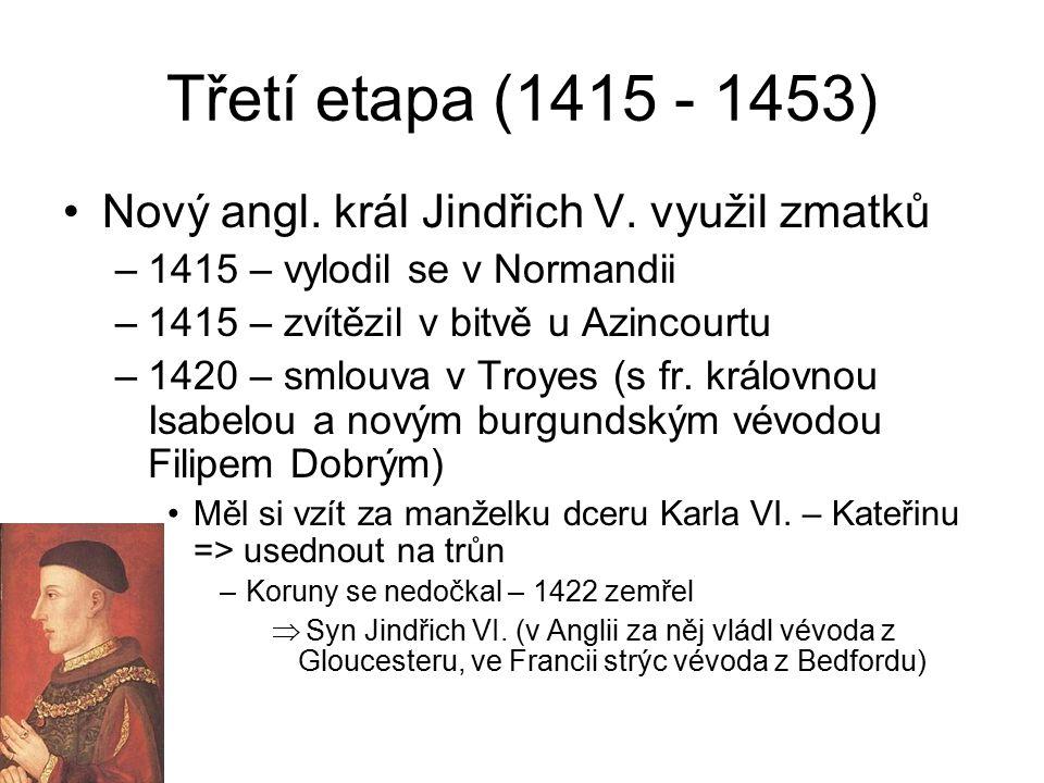 Třetí etapa (1415 - 1453) Nový angl. král Jindřich V. využil zmatků