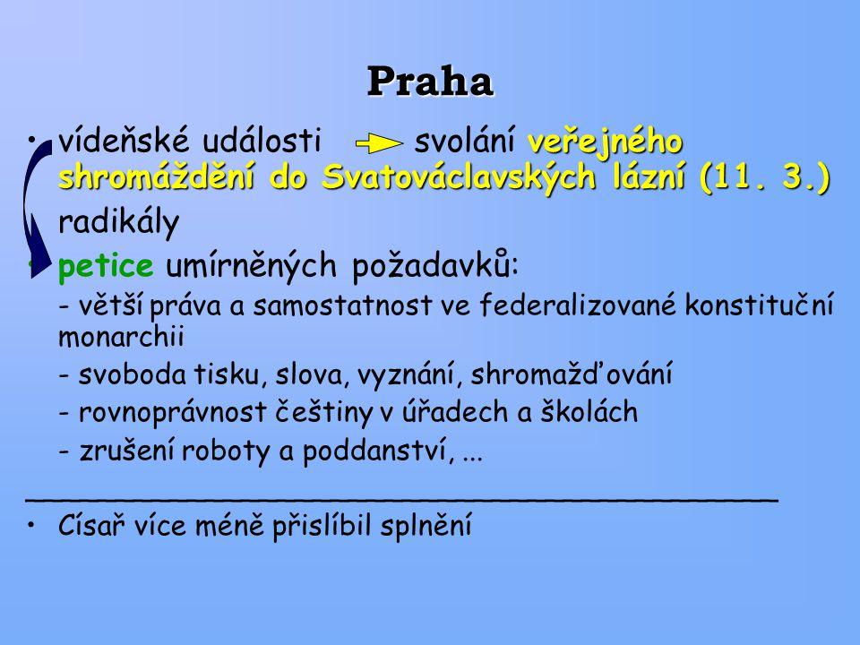Praha vídeňské události svolání veřejného shromáždění do Svatováclavských lázní (11. 3.) radikály.
