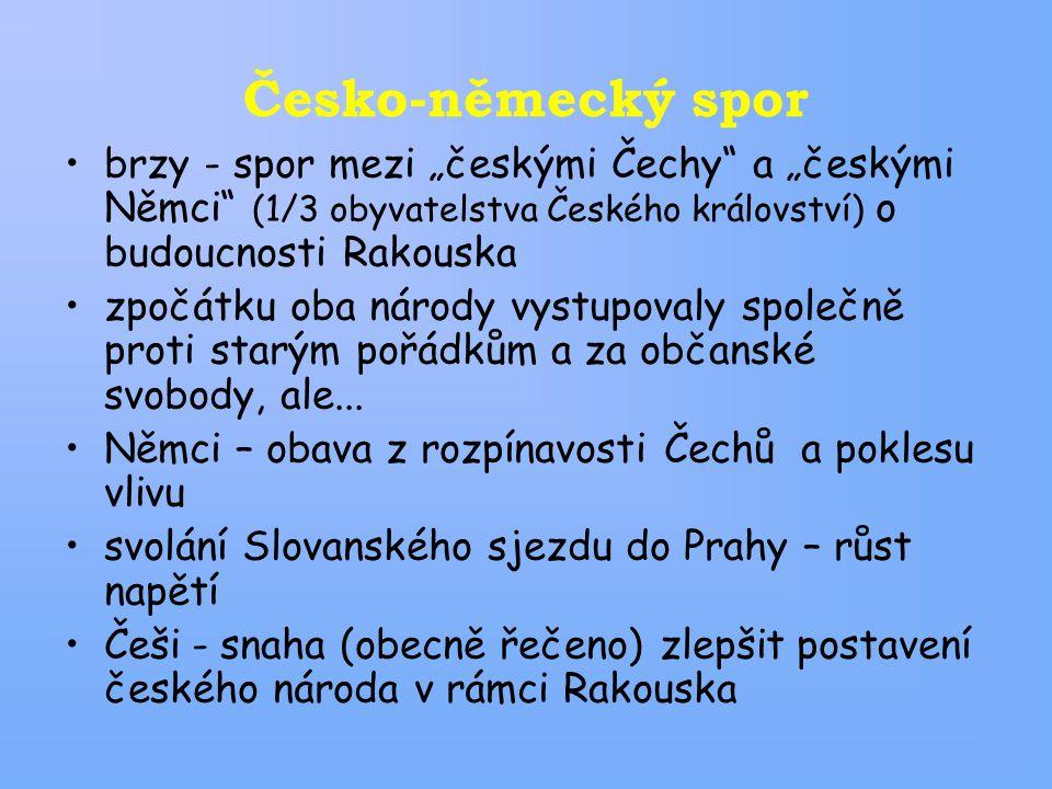 """Česko-německý spor brzy - spor mezi """"českými Čechy a """"českými Němci (1/3 obyvatelstva Českého království) o budoucnosti Rakouska."""