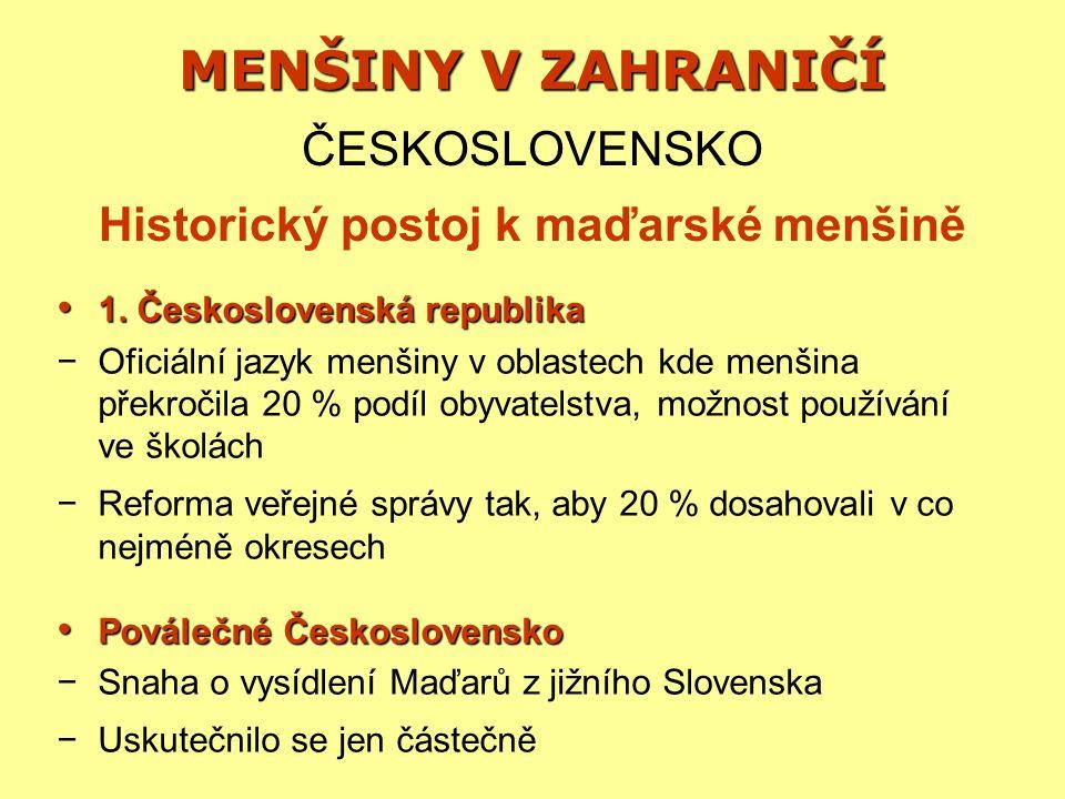 Historický postoj k maďarské menšině