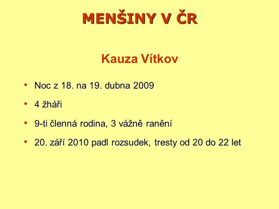 MENŠINY V ČR Kauza Vítkov Noc z 18. na 19. dubna 2009 4 žháři