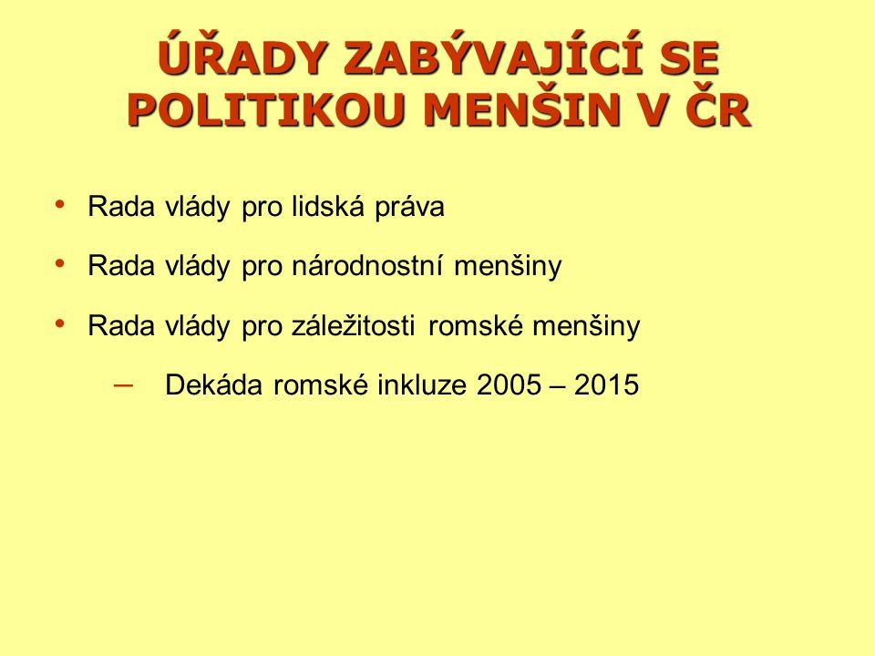 ÚŘADY ZABÝVAJÍCÍ SE POLITIKOU MENŠIN V ČR