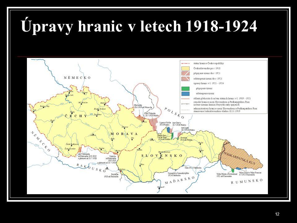 Úpravy hranic v letech 1918-1924